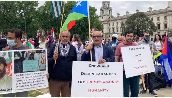 Free Balochistan Movement stage protest before British Parliament against Pakistani atrocities
